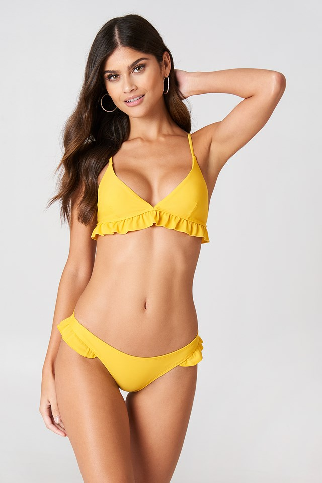 Frill Bikini Briefs Burned Yellow