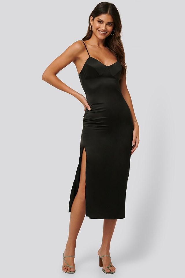 Satin Midi Dress Black