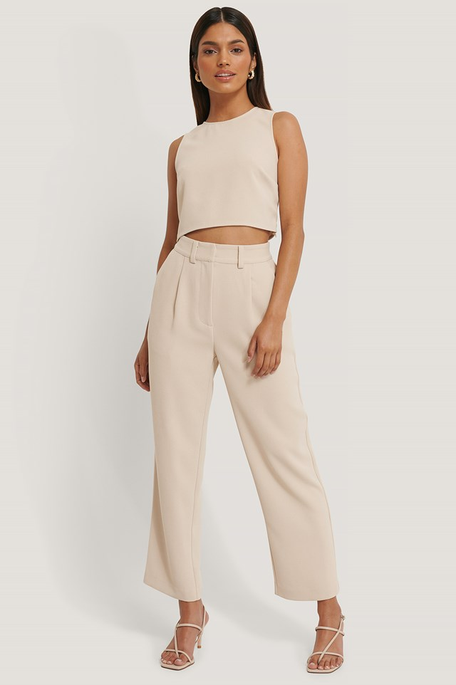 High Waist Suit Pants Beige