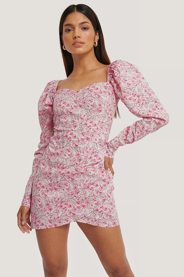 Volume Sleeve Wrap Mini Dress Flower Pink