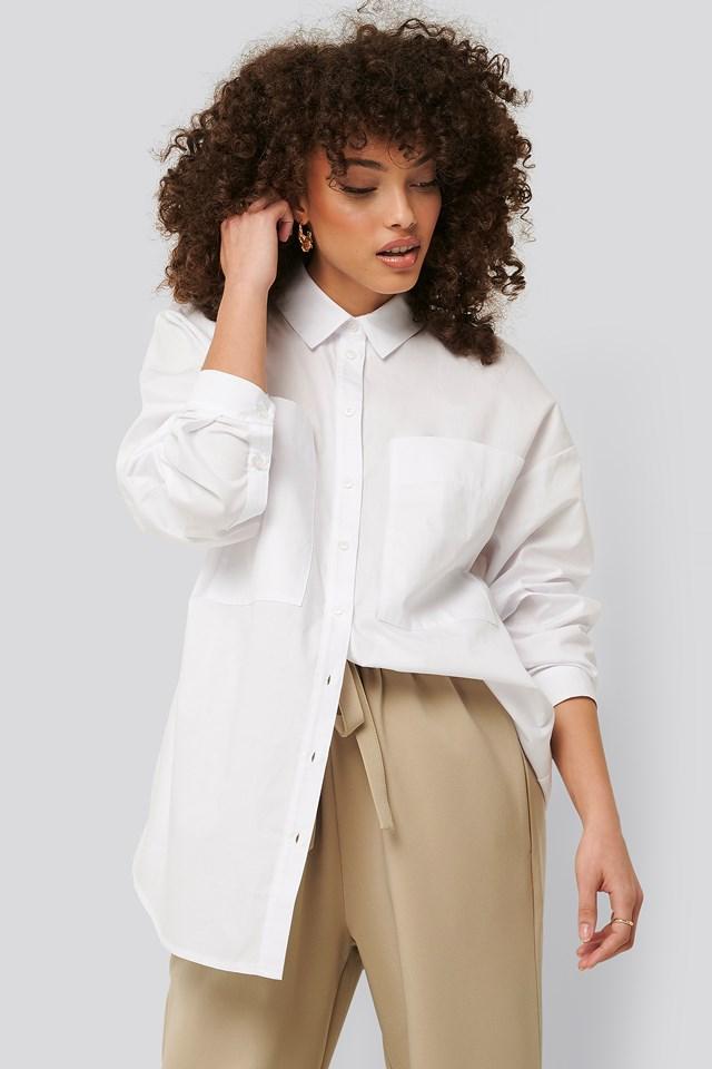 Oversized Patch Pocket Shirt White