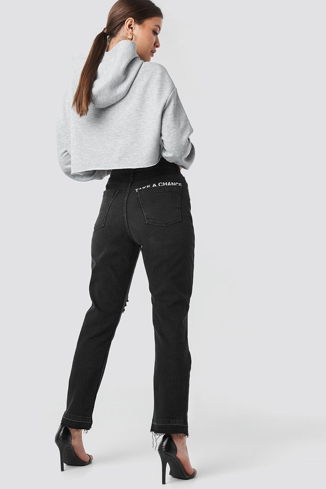 """Chance"" High Waist Straight Jeans Black/White"