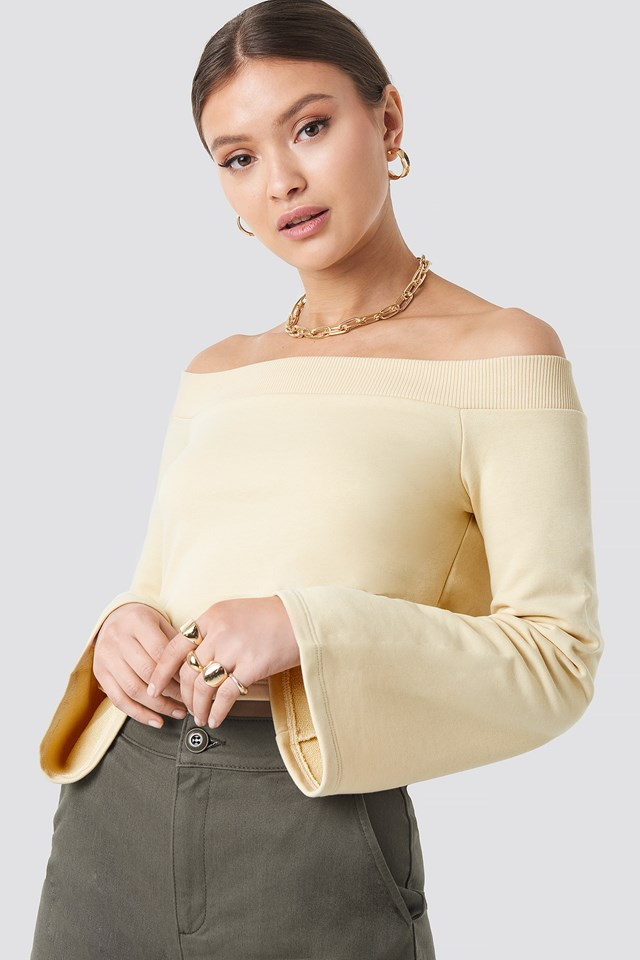 Off Shoulder Cropped Sweatshirt Beige