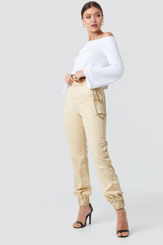 Side Chain High Waist Chino Joggers Beige