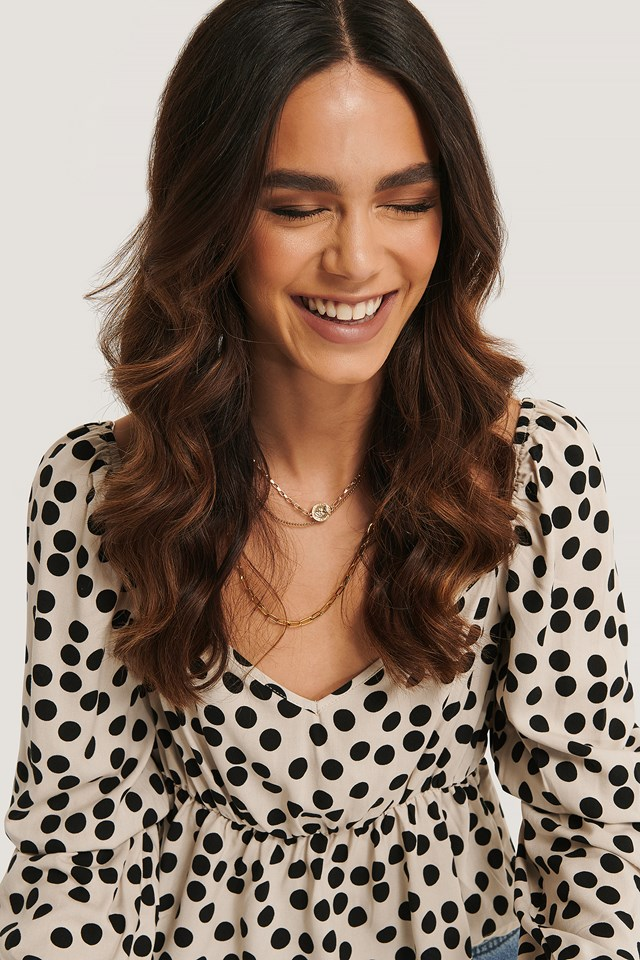 Dotted Puff Sleeve Blouse Dots