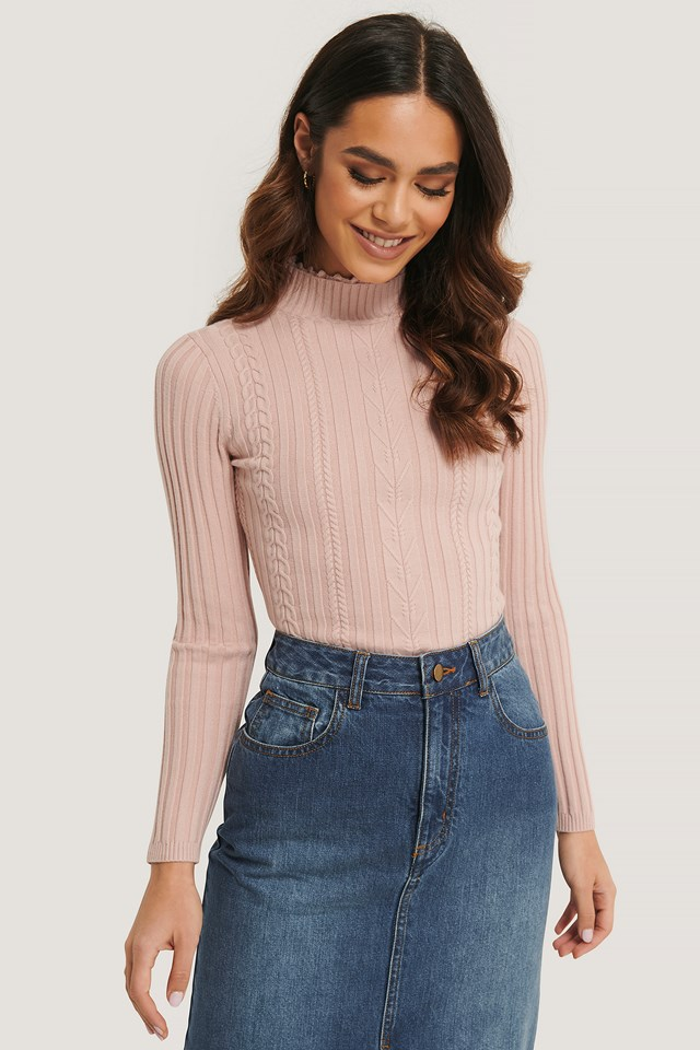 High Neck Detail Top Dusty Pink