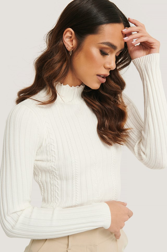 High Neck Detail Top Off White