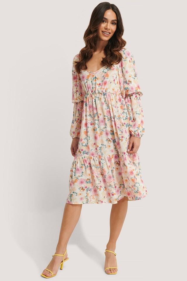 Puff Midi Dress Flower Print