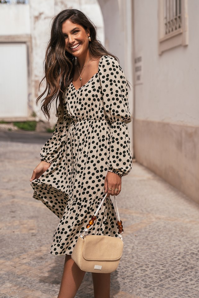 Dotted Puff Midi Dress Dots