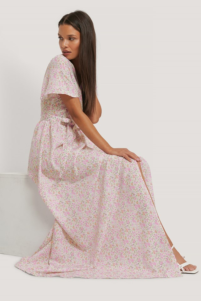 Chiffon Maxi Dress Pink Floral
