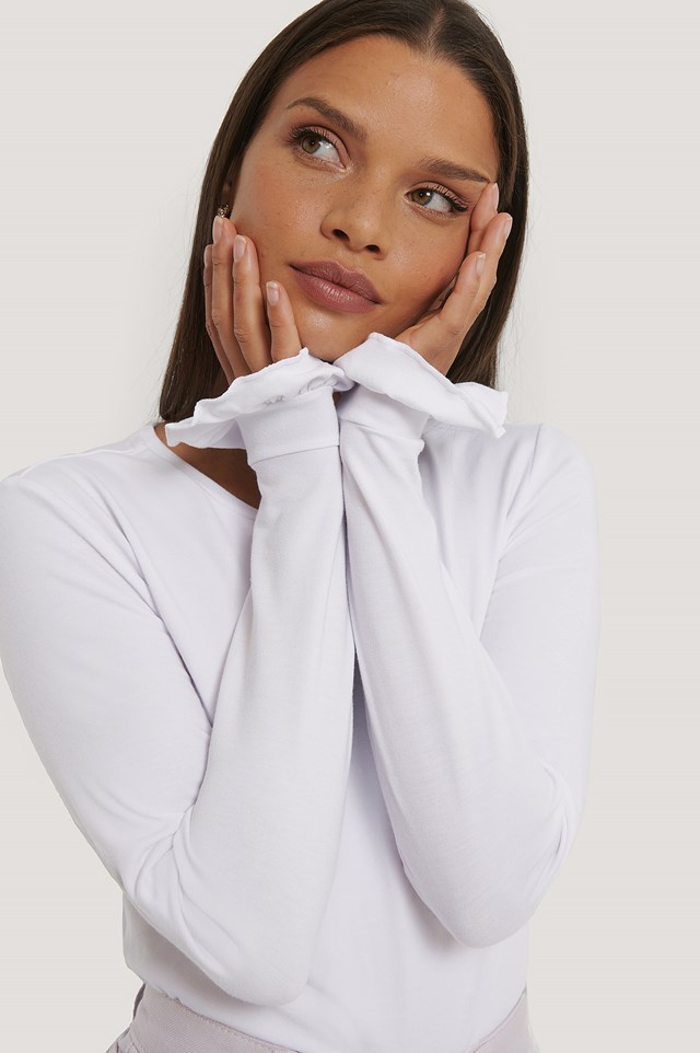 Long Sleeve Frill Detail Top Off White
