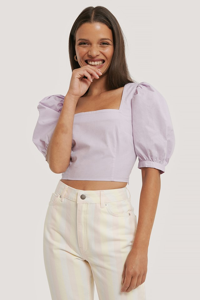 Square Neck Puff Sleeve Top Lilac