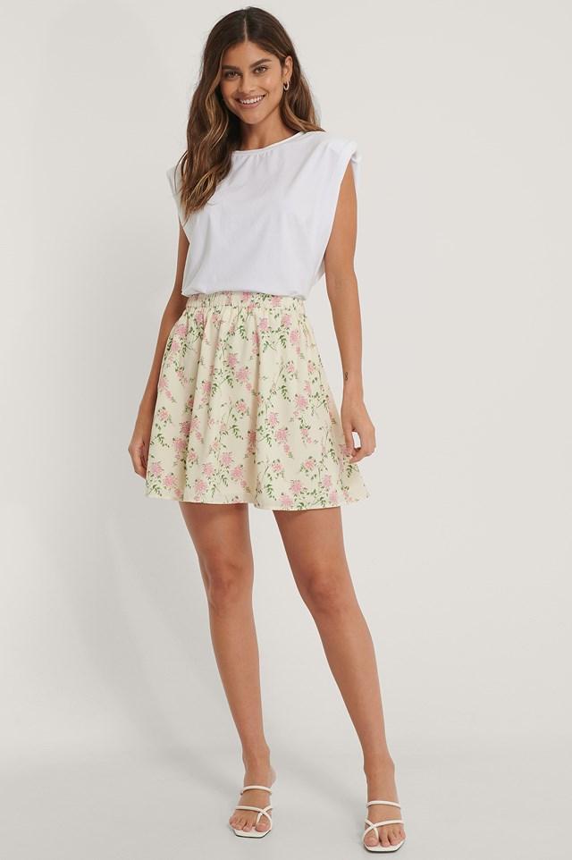 High Waist Mini Skirt Green Flower