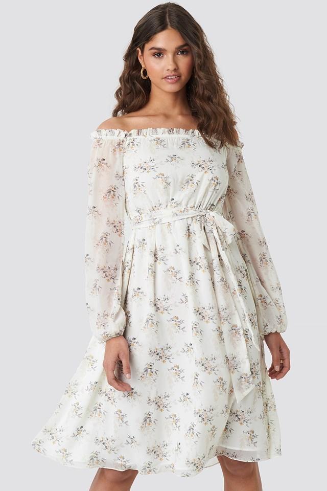 Off Shoulder Midi Dress Multi Floral Print