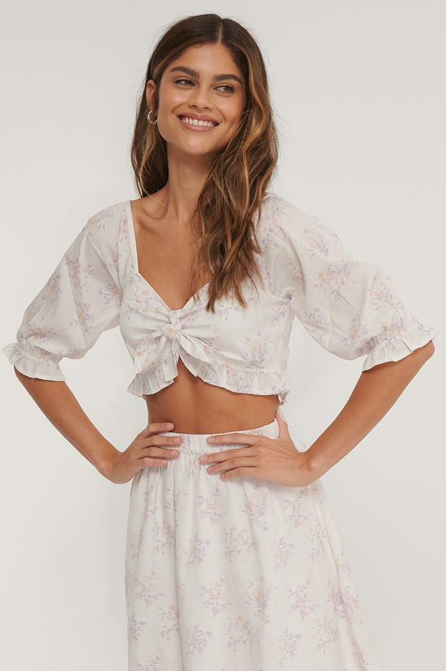 Puff Sleeve Frill Top Lilac Flower