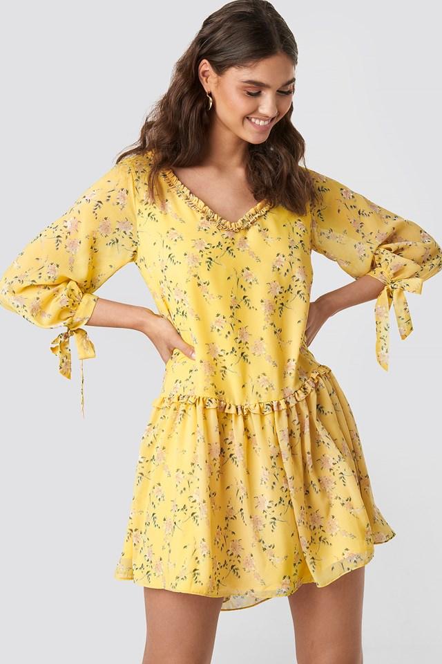 Ruffle V Neck Mini Dress Yellow Flower