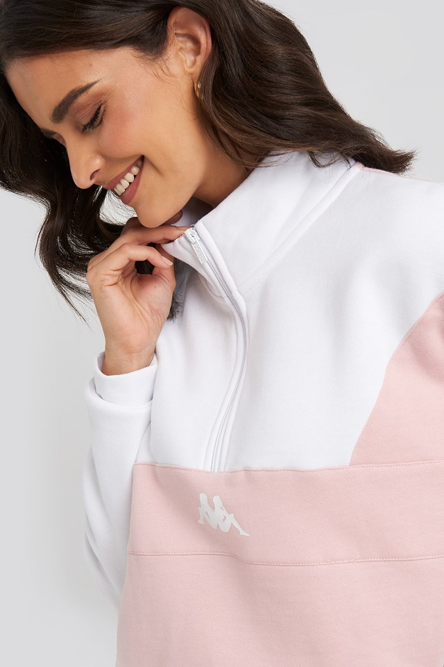 Brer Half-Zip Turtleneck Pink/White