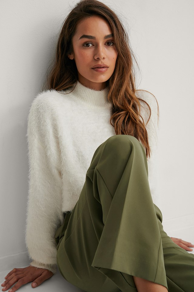 Offwhite Dropped Shoulder Fuzzy Knitted Sweater