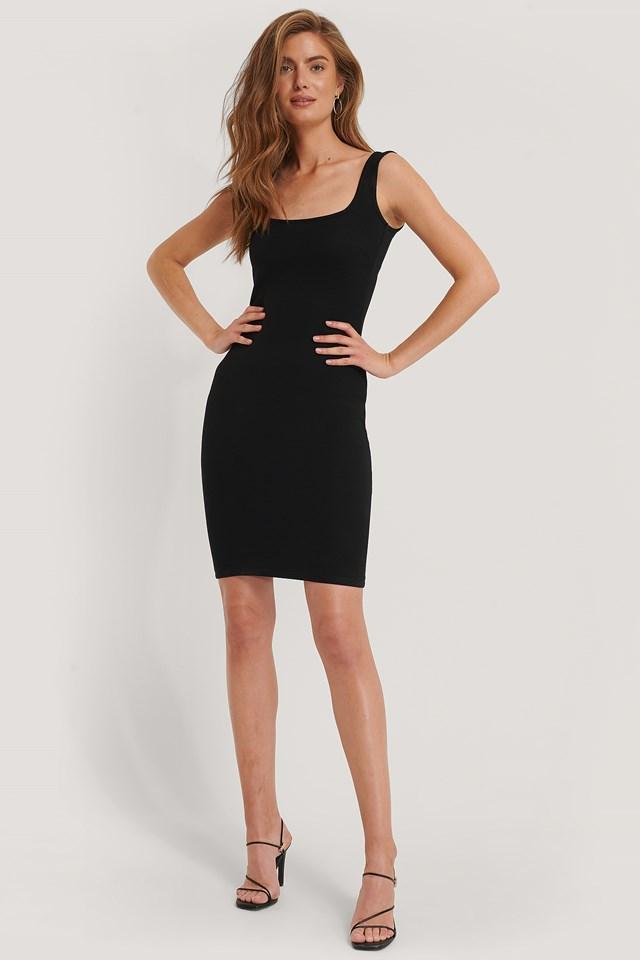 Bodycon Strap Midi Dress Black