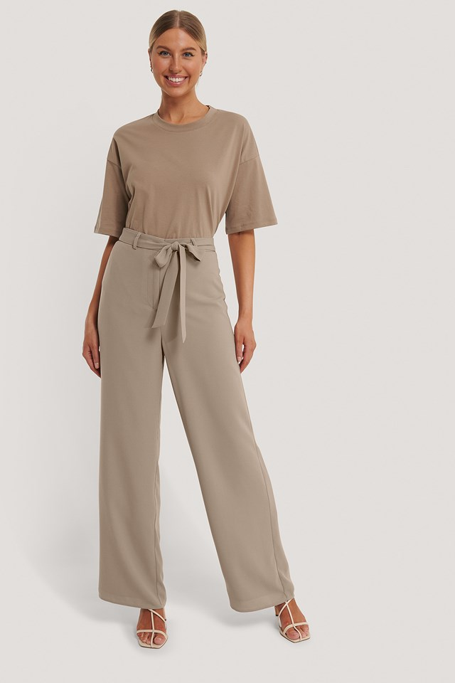 Loose Fit Belt Trousers Taupe