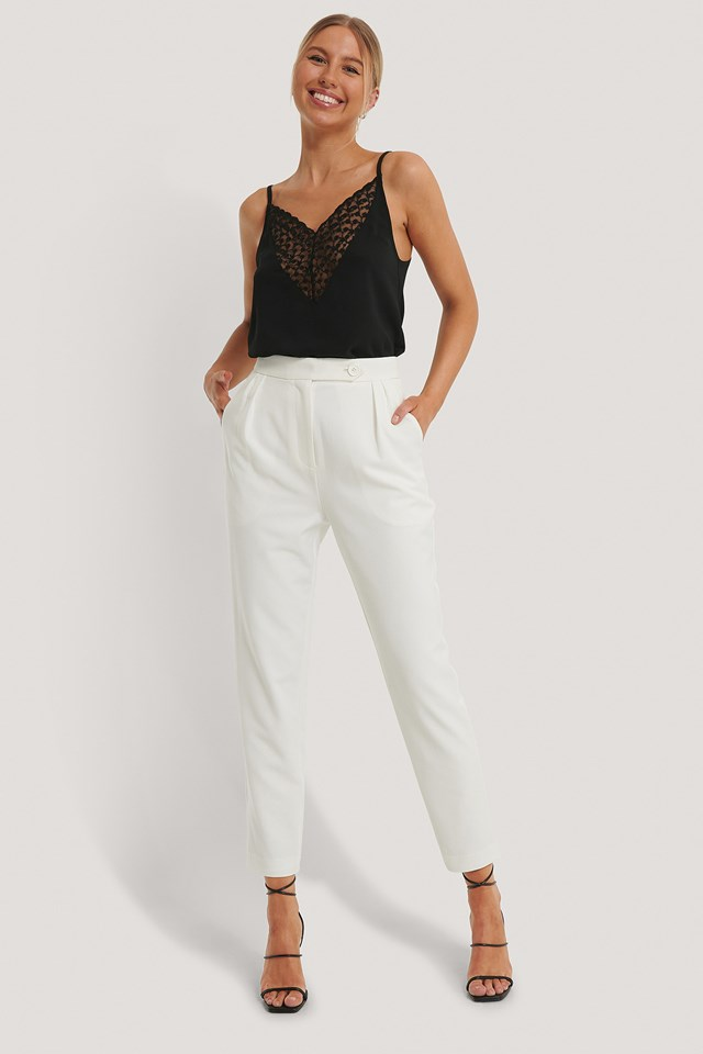 Pleated One Button Pants White