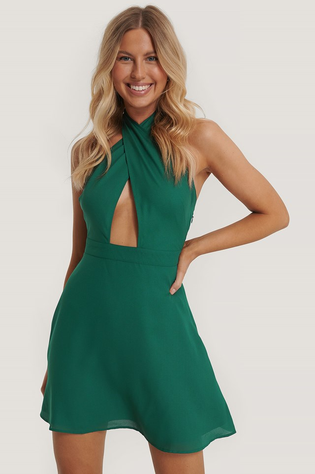 Wrap Around Dress Dark Green