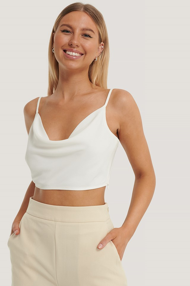 Cowl Neck Cropped Top Offwhite