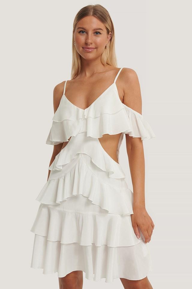 Flounce Mini Dress Offwhite