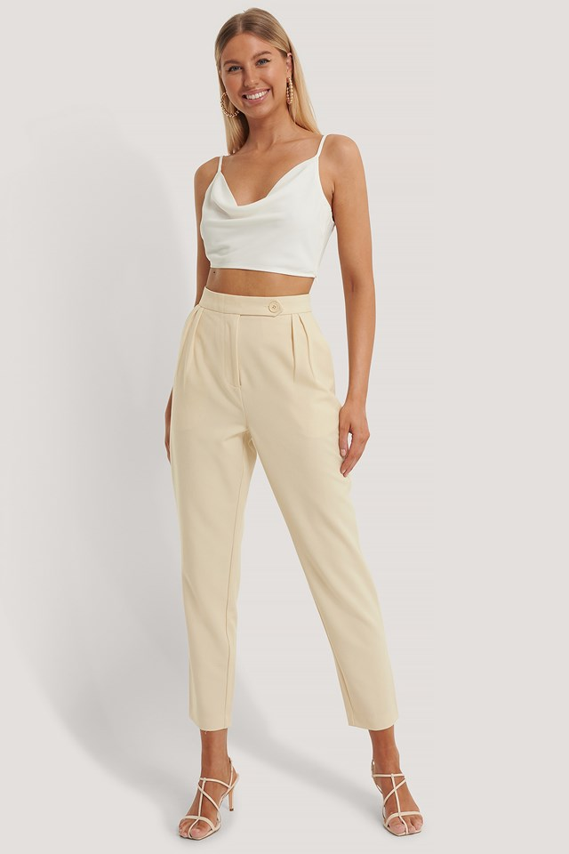 Pleated One Button Pants Beige