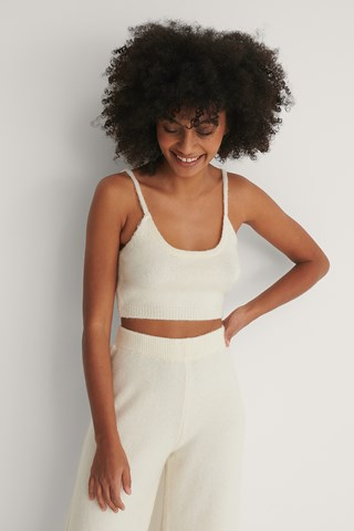 White Knitted Cropped Top
