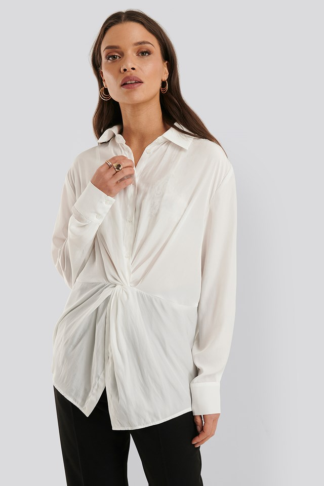 Knot Front Blouse White