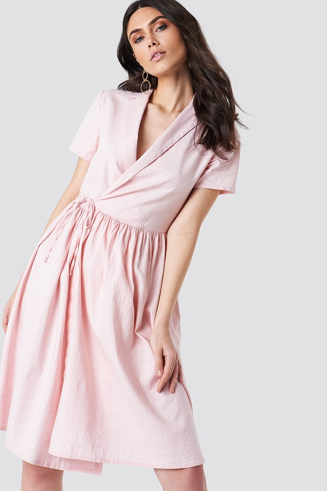 Overlapped Midi Dress Light Pink