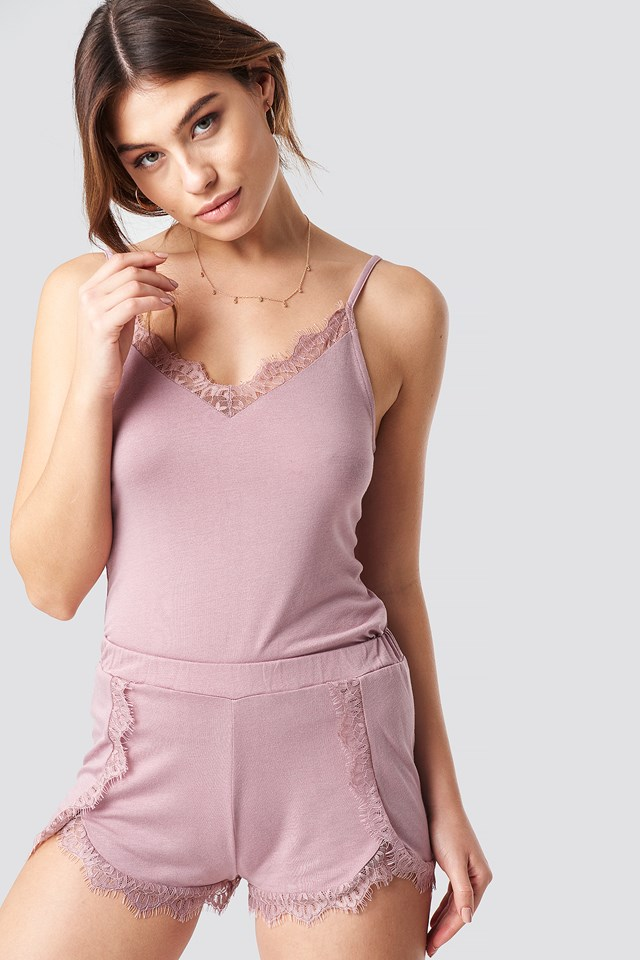Lace Detailed Slip Singlet Dusty Pink