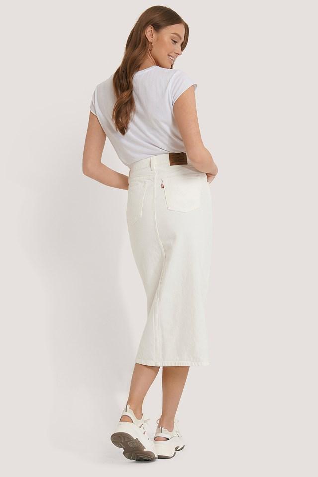 Button Front Midi Skirt White