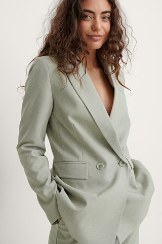 Green Recycled Double Breasted Blazer