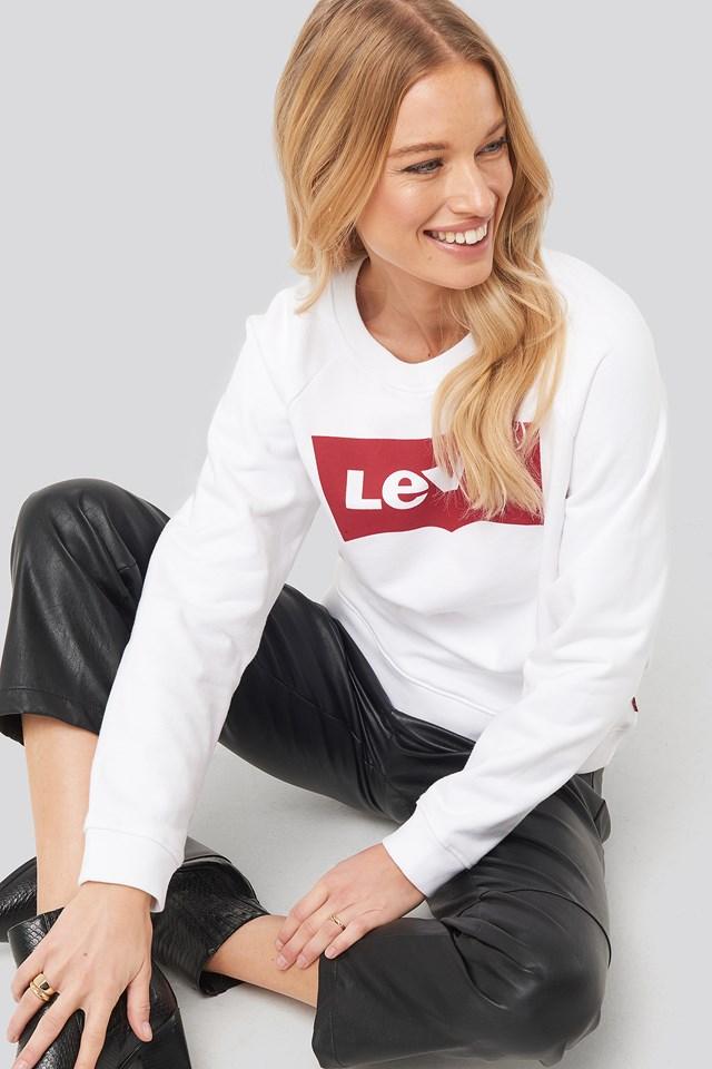 Relaxed Graphic Crew Sweatshirt White