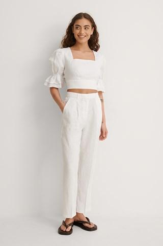 White Linen Cropped Pants