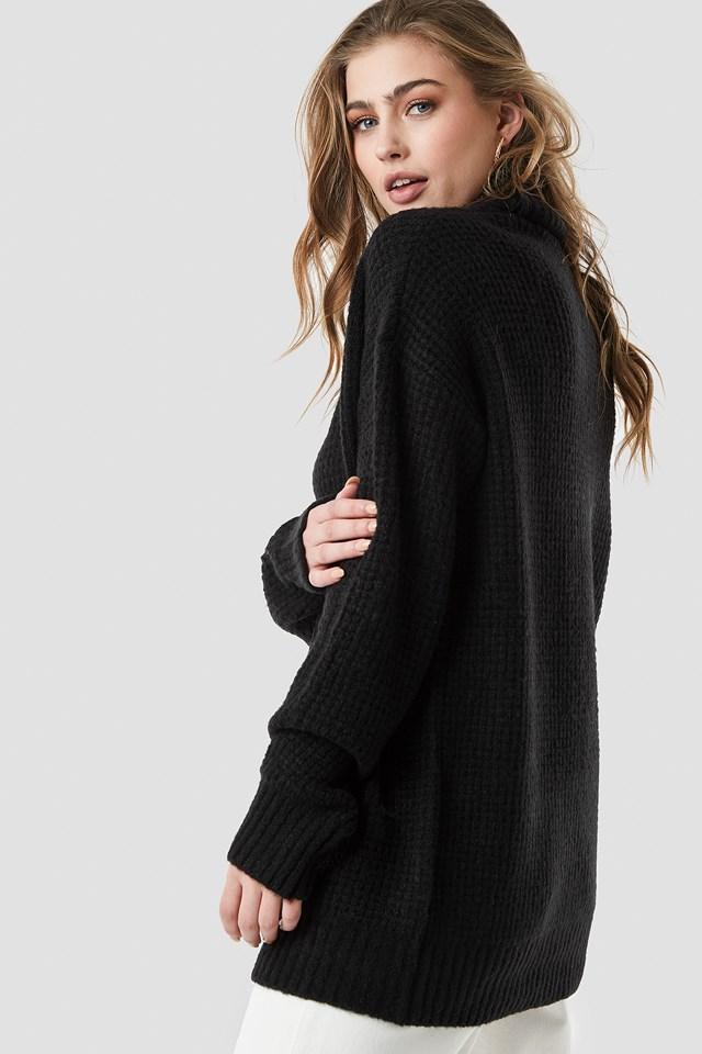 Chunky Oversized Polo Dress Black