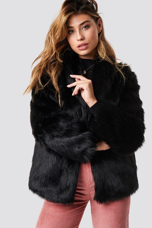 Classic Faux Fur Jacket Black