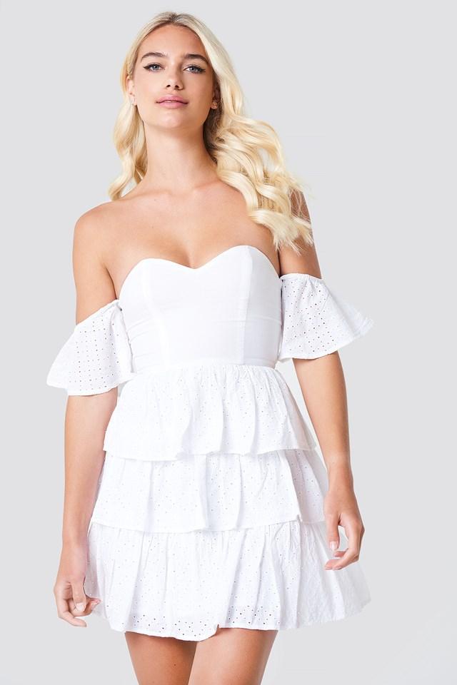 Off Shoulder Triple Layer Dress White