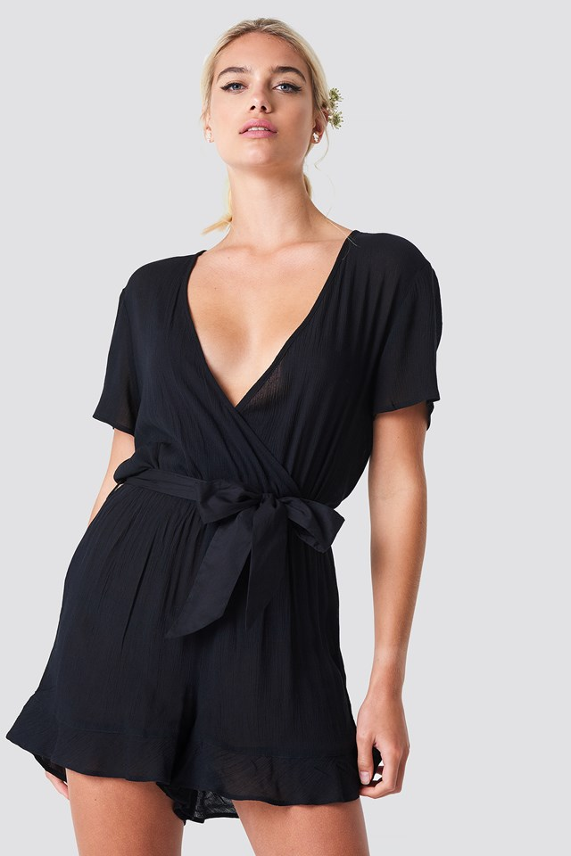 Short Sleeve Wrap Playsuit Black