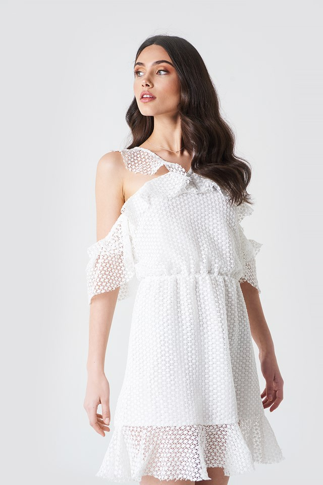 Double Frill Sleeve Dress White