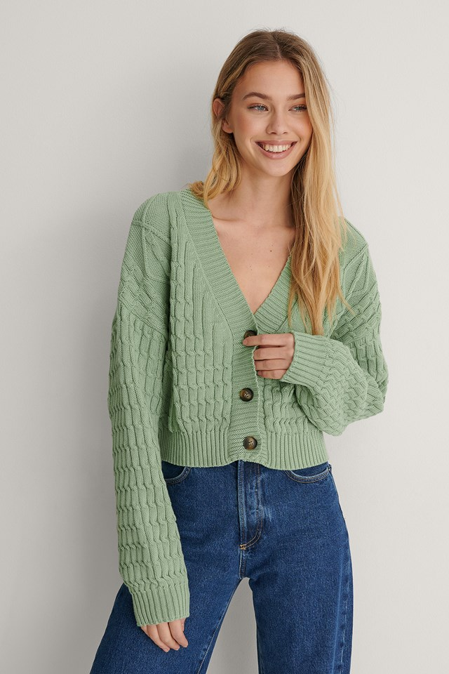 Mint Organic Cable Knitted Cardigan