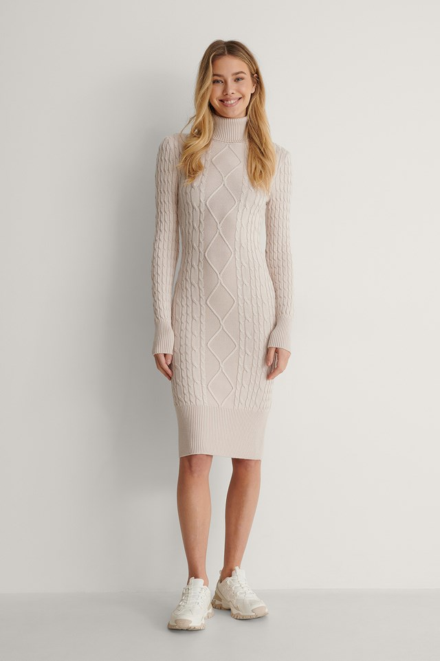 Light Beige Cable Knitted Midi Dress