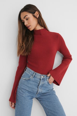 Wine Recycled Sleeve Slit High Neck Top