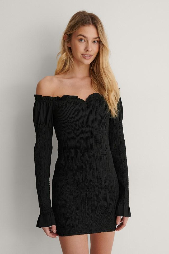 Black Smocked Off Shoulder Dress