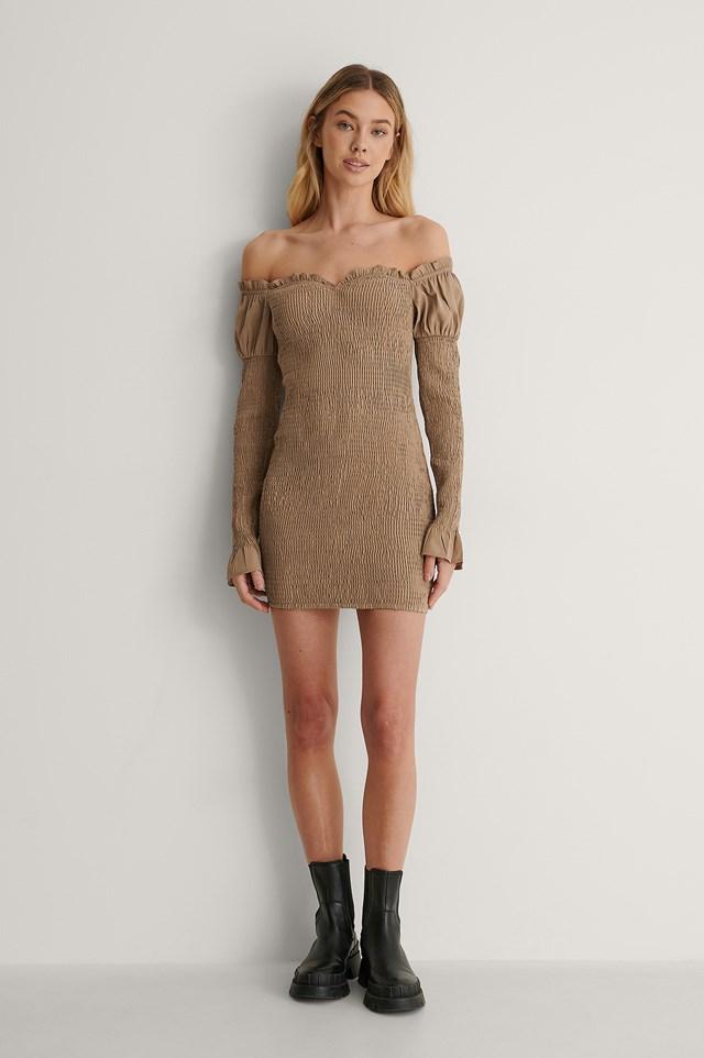 Beige Smocked Off Shoulder Dress