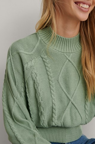 Mint Organic Volume Sleeve Knitted Sweater