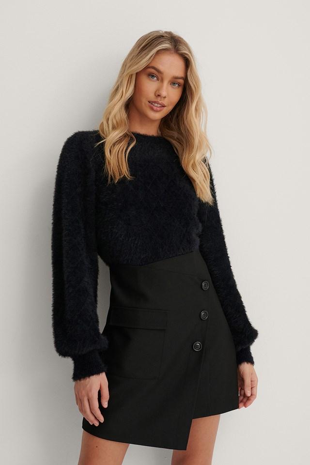 Asymmetric Mini Skirt Black