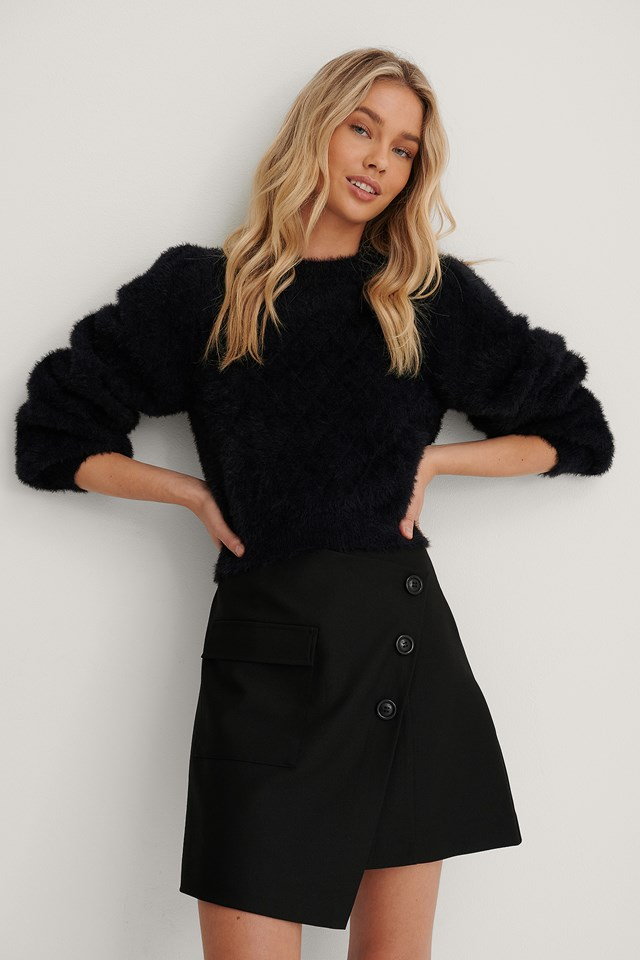 Fuzzy Knitted Sweater Black